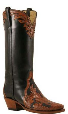 Lucchese L4656 Womens Mahogany Black Hand Tooled Black Calfskin Triad Boots