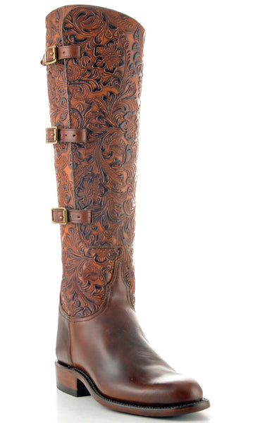Lucchese Polo L4995 Womens Lieutenant Chocolate Oil Calfskin Tooled Floral Embossed Boot