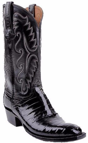 Lucchese Classics E2147.13 Mens Black Ultra Belly Caiman Crocodile Cowboy Boots