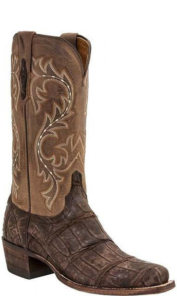 Lucchese Burke Mens Chocolate Brown Giant American Alligator Boots M3195