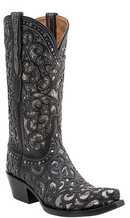 Lucchese SIERRA M4842 Womens Black Curly L Lasercut Boots