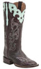 Lucchese M4912 Womens Burgundy Scallop Top Star Boots