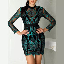 Load image into Gallery viewer, Sequin Mesh Lace Insert Dress..