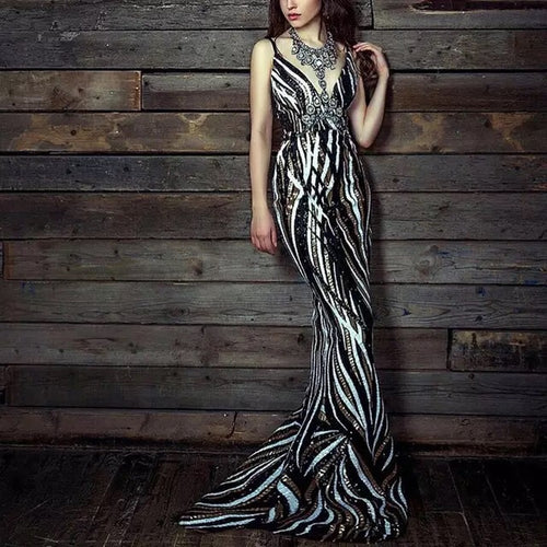 Sequined Long Evening Party dress