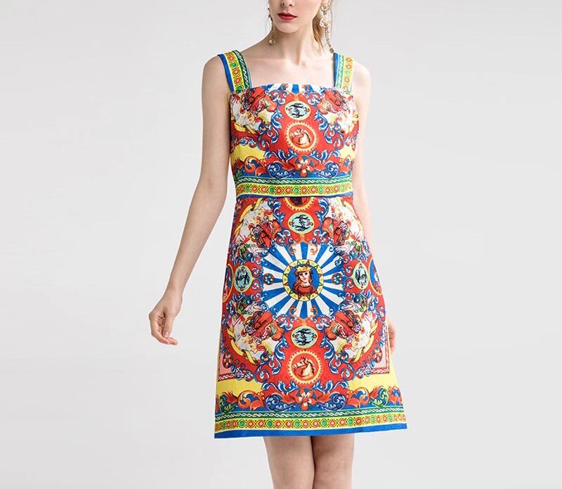 Retro Royal Print Dress