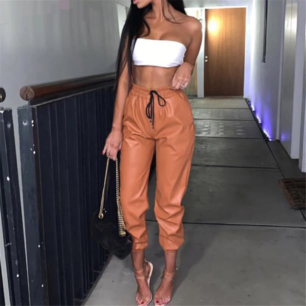 Tan Leather Jogger
