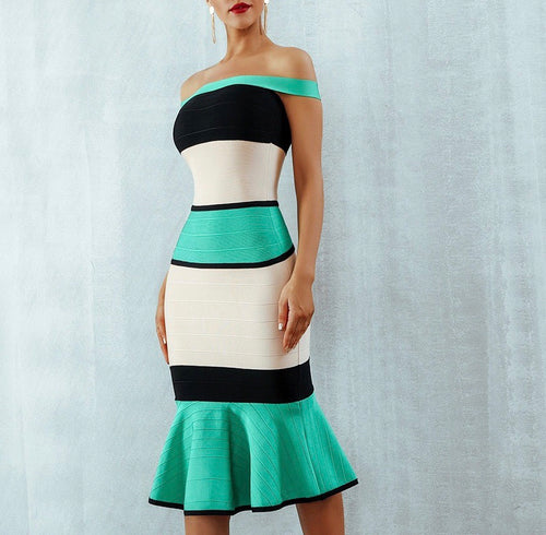 Green,white and black Bandage Dress