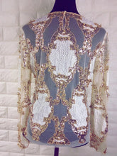 Load image into Gallery viewer, Sexy, Sheer Heavy Beaded shirt..
