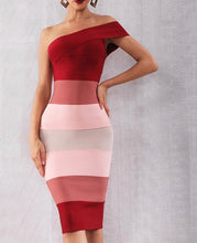 Load image into Gallery viewer, Wine and Pink one shoulder Bandage Dress