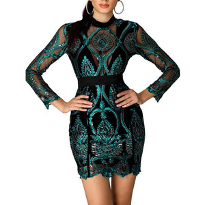 Sequin Mesh Lace Insert Dress..