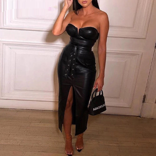 Sexy, leather (PU) Dress