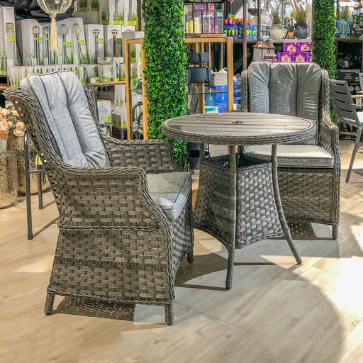 Mercer Garden Furniture Amalfi High Back Grey Rattan Tea for Two Set Polywood Top