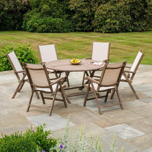 Alexander Rose Garden Furniture Alexander Rose Sherwood Dining Set with 6 Sling Recliners