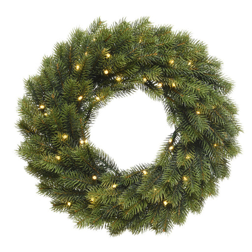 Kaemingk Lumineo Christmas lighting Lumineo Pre Lit Outdoor Green Winnipeg Wreath 40cm (49 Lights)
