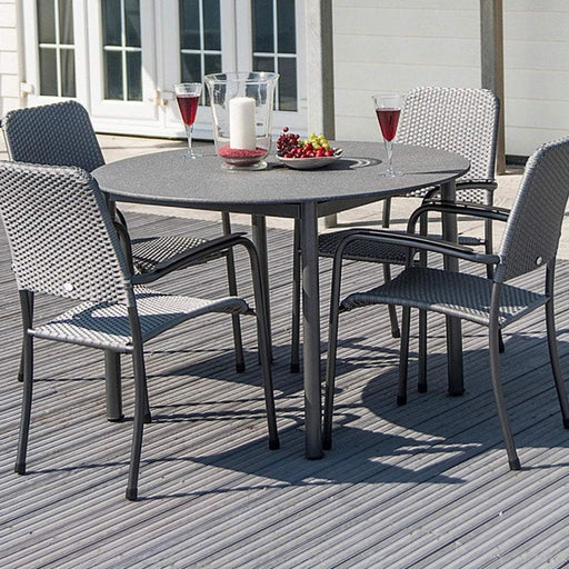 Alexander Rose Portofino 4-seater 1.18m Round Stone Table set - Mid Ulster Garden Centre
