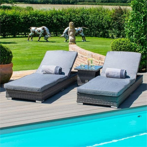 Amalfi Sun Lounger Rattan Bed with Side Table