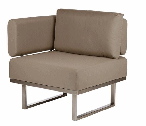 Barlow Tyrie Garden Furniture Mercury Module Deep Seating - Left Barlow Tyrie Mercury Deep Seating Outdoor Lounging Set in SJA-3729 Taupe Fabric