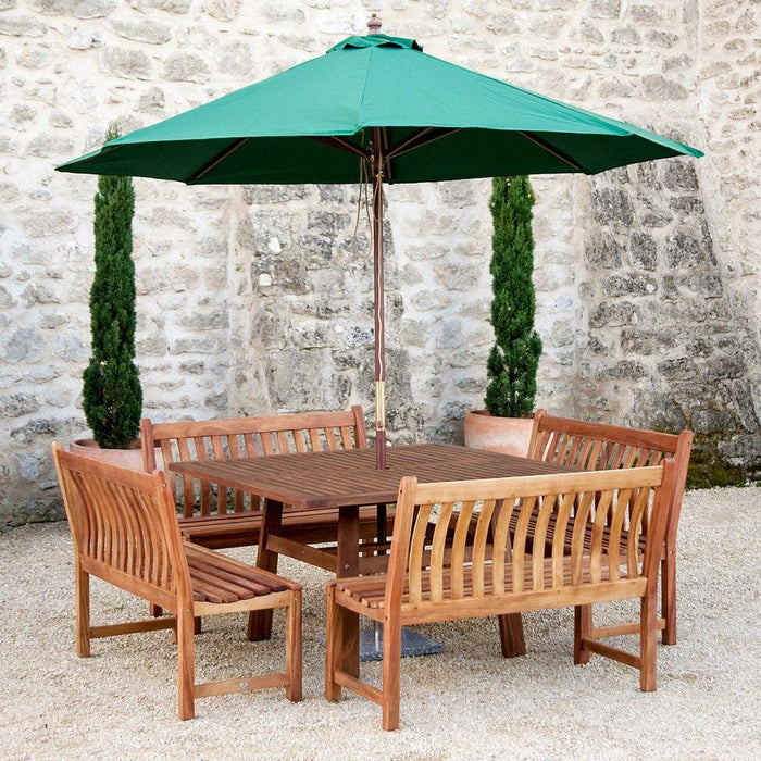 Alexander Rose Cornis Square Wooden Dining Set with Benches
