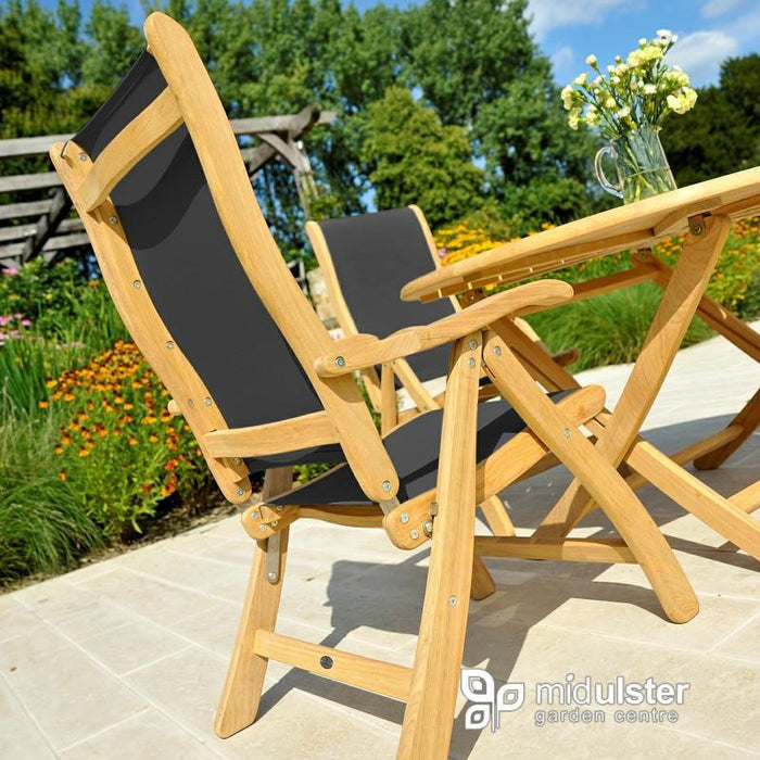 Alexander Rose Roble Bengal Round 4 Seater Set - Charcoal Sling Recliner Chairs - Mid Ulster Garden Centre, Ireland