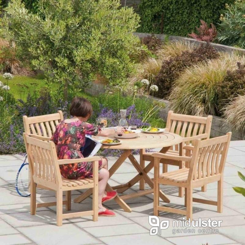 Alexander Rose Garden Furniture Alexander Rose Roble Bengal Round 4 Seater Set - Broadfield Armchairs