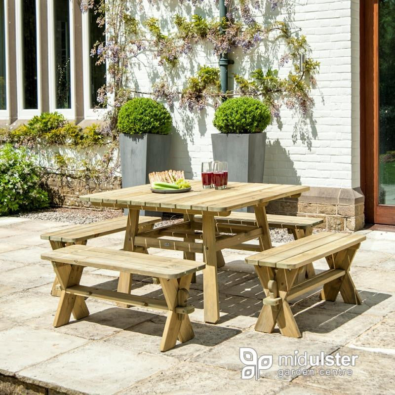 Alexander Rose Pine Square Picnic Set with Benches - Mid Ulster Garden Centre, Ireland