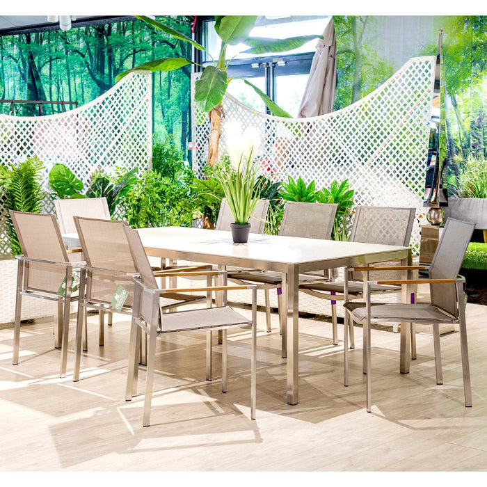 Barlow Tyrie Garden Furniture Barlow Tyrie Equinox Stainless Steel 200cm Table and Mercury Sling Armchair Dining Set