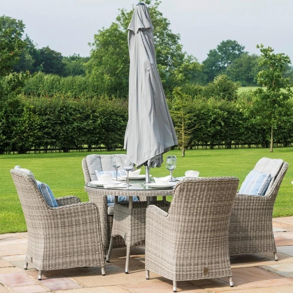 Oxford 4 Seater Round Dining Set in Dove Grey
