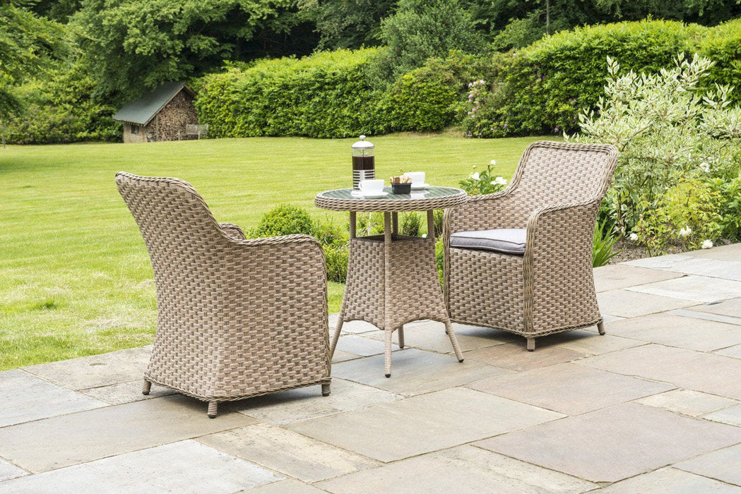 b88ac3d443474 Alexander Rose Bespoke Grand Bistro 2 Seat Outdoor Dining Set in Fawn