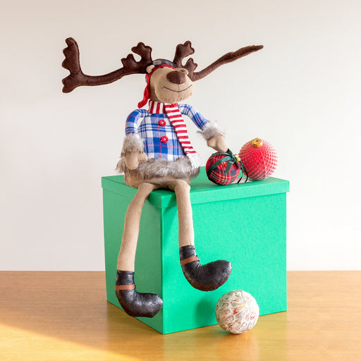 Decoris Christmas Decor Aviator Reindeer Stuffed Animal Figure With Dangling Legs