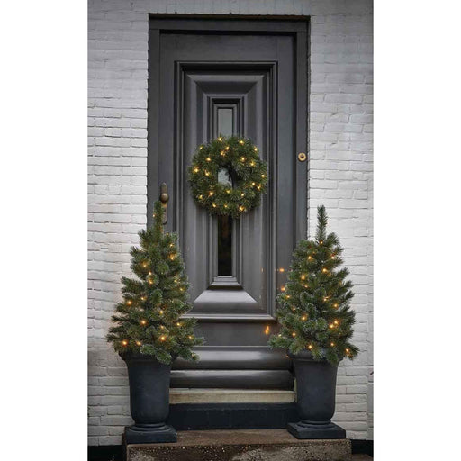 Edelman Christmas lighting Black Box Trees Glendon 2 Potted Trees and 1 Wreath Front Door Set