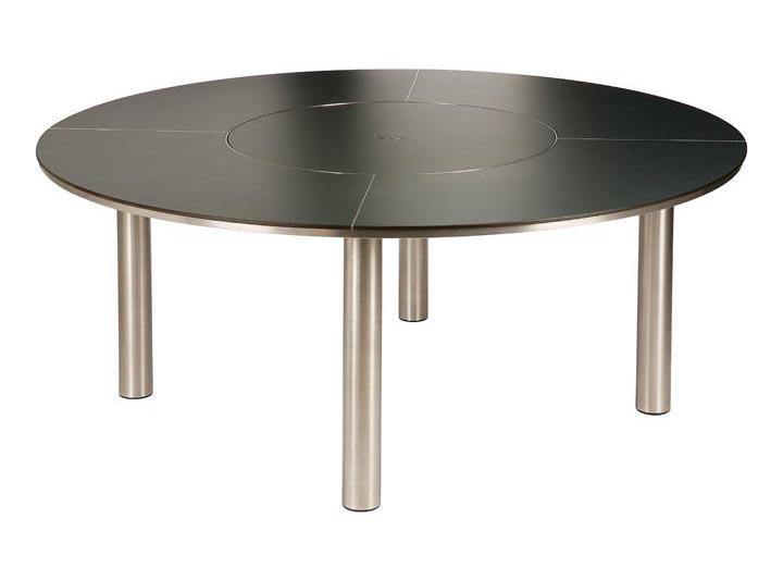 Barlow Tyrie Equinox HPL Slate Grey Table (180 cm diameter) Dining Set with Lazy Suzan - Mid Ulster Garden Centre, Ireland