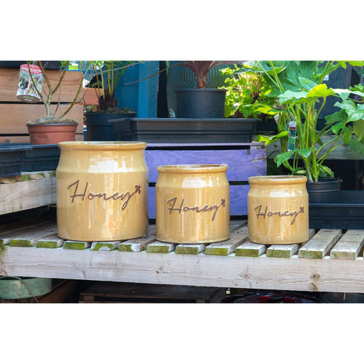 Mid Ulster Garden Centre Gardening Honey Ceramic Outdoor Plant Pots - 3 Sizes
