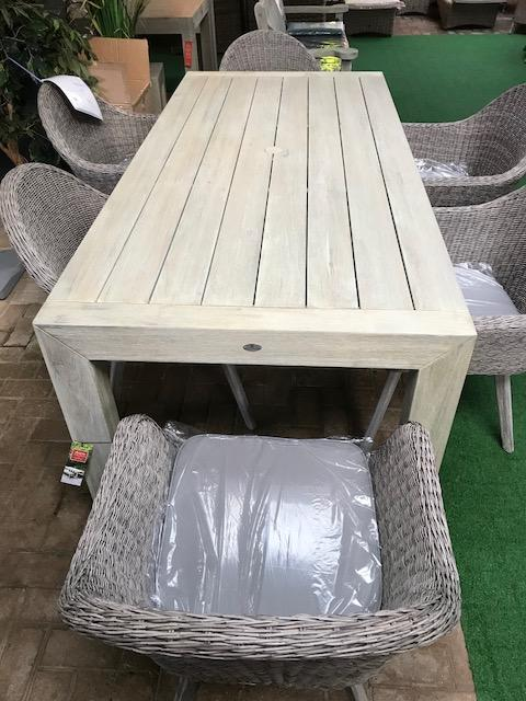 Alexander Rose - Acacia Distressed Table with 6 Grey Brushed Woven Chairs - Mid Ulster Garden Centre, Ireland