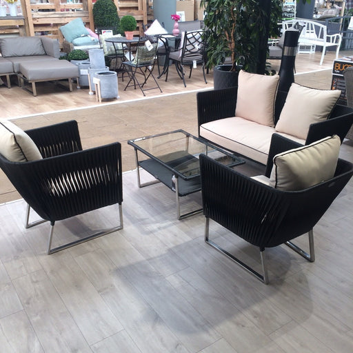 Manhatten Stainless Steel & Viro Weave Lounge Set (BLACK) - Mid Ulster Garden Centre, Ireland