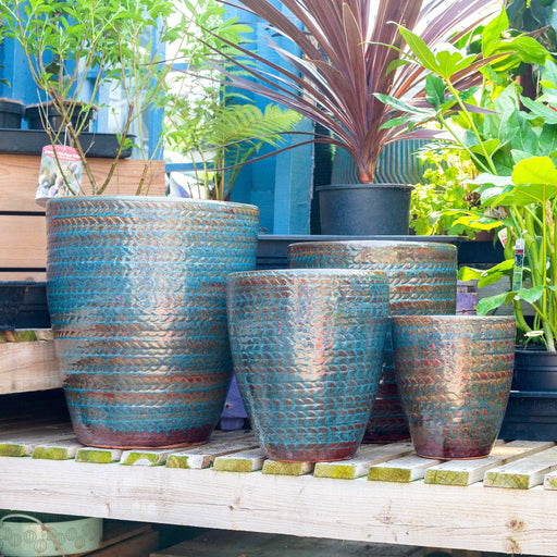 Knitted Tweed Pattern Garden Pots In Bronze Teal Colours - Mid Ulster Garden Centre