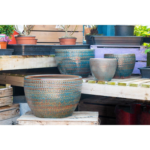 Knitted Tweed Pattern Round Flower Pots In Bronze Teal Colours Family - Mid Ulster Garden Centre, Ireland