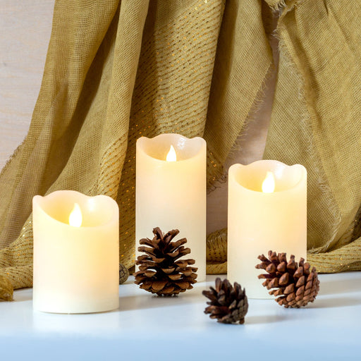 Kaemingk Lumineo Christmas lighting Lumineo LED Wax Candle With Flickering Flame (3 Sizes)