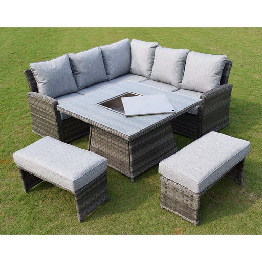 Mercer Garden Furniture Amalfi Casual Dining Light Grey Firepit Set