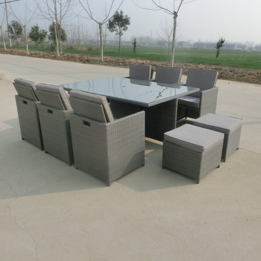Alexander Rose Garden Furniture Alexander Rose Bespoke 6 Seater Rattan Cube Set in Grey