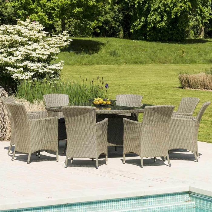Alexander Rose Bespoke 8 Seater Round Rattan Dining Set in Grey - Mid Ulster Garden Centre, Ireland