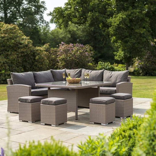 Alexander Rose Garden Furniture Alexander Rose Bespoke Rattan Corner 10 Seater Dining Set in Grey