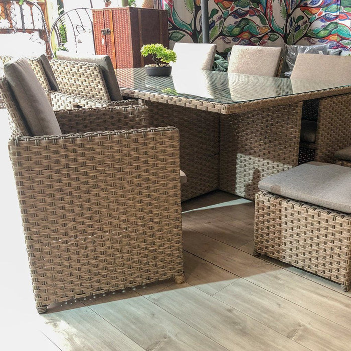 Alexander Rose Bespoke Grand 6 Seater Rattan Cube Set in Fawn,  Mid Ulster Garden Centre, Northern Ireland