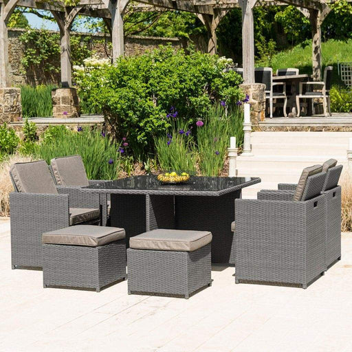Alexander Rose Garden Furniture Alexander Rose Bespoke Slate Grey 8 Seater Rattan Cube Set with Truffle Cushions