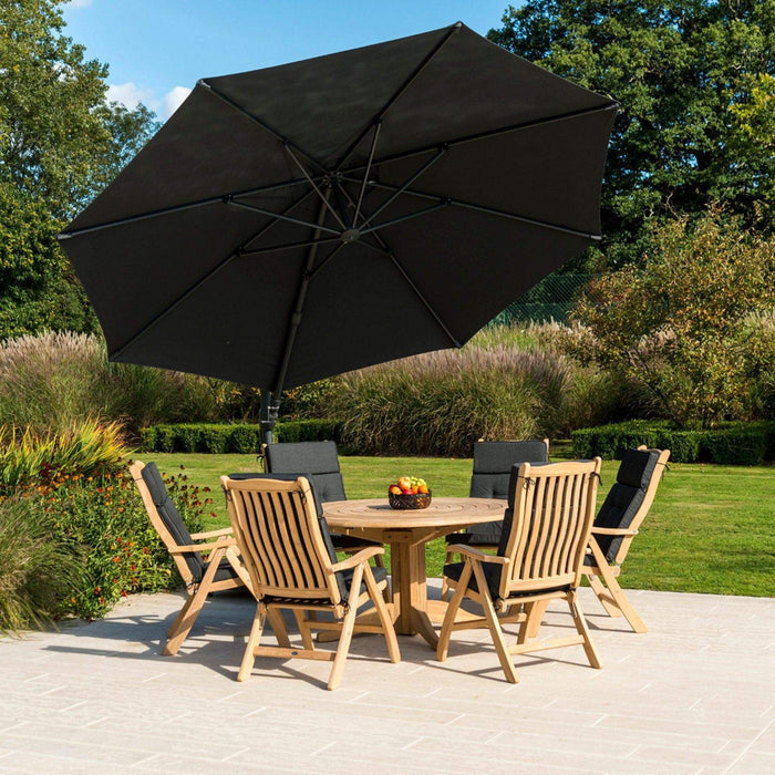 Alexander Rose Garden Furniture Accessories Alexander Rose Round Cantilever Sunshade 3.5m Parasol - Charcoal, Ecru, Taupe