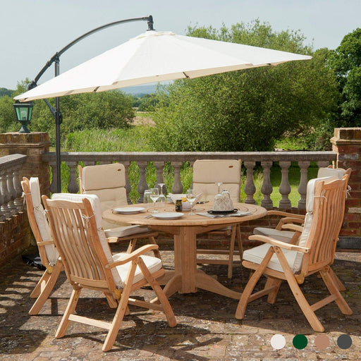 Alexander Rose Garden Furniture Accessories Alexander Rose Round Aluminium Cantilever Parasol 3m Diameter, Taupe, Ecru, Forest Green, Charcoal