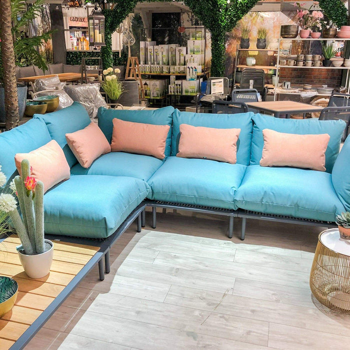 Alexander Rose Garden Furniture Alexander Rose Contemporary Beach Lounge Jade L-Shaped Sofa and Coffee Table Set