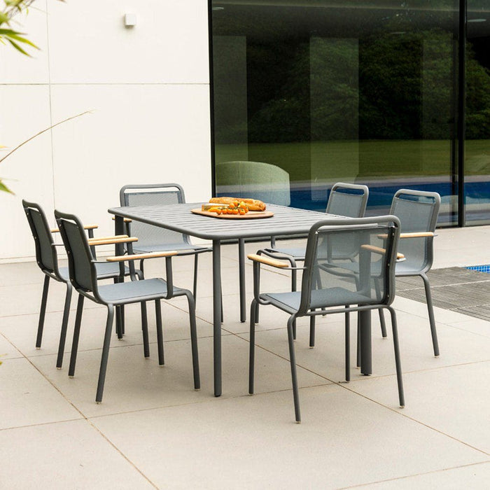 Alexander Rose Fresco Flint Dining Set - Rectangular Slatted Table with 6 Stacking Armchairs - Grey Sling - Mid Ulster Garden Centre, Ireland