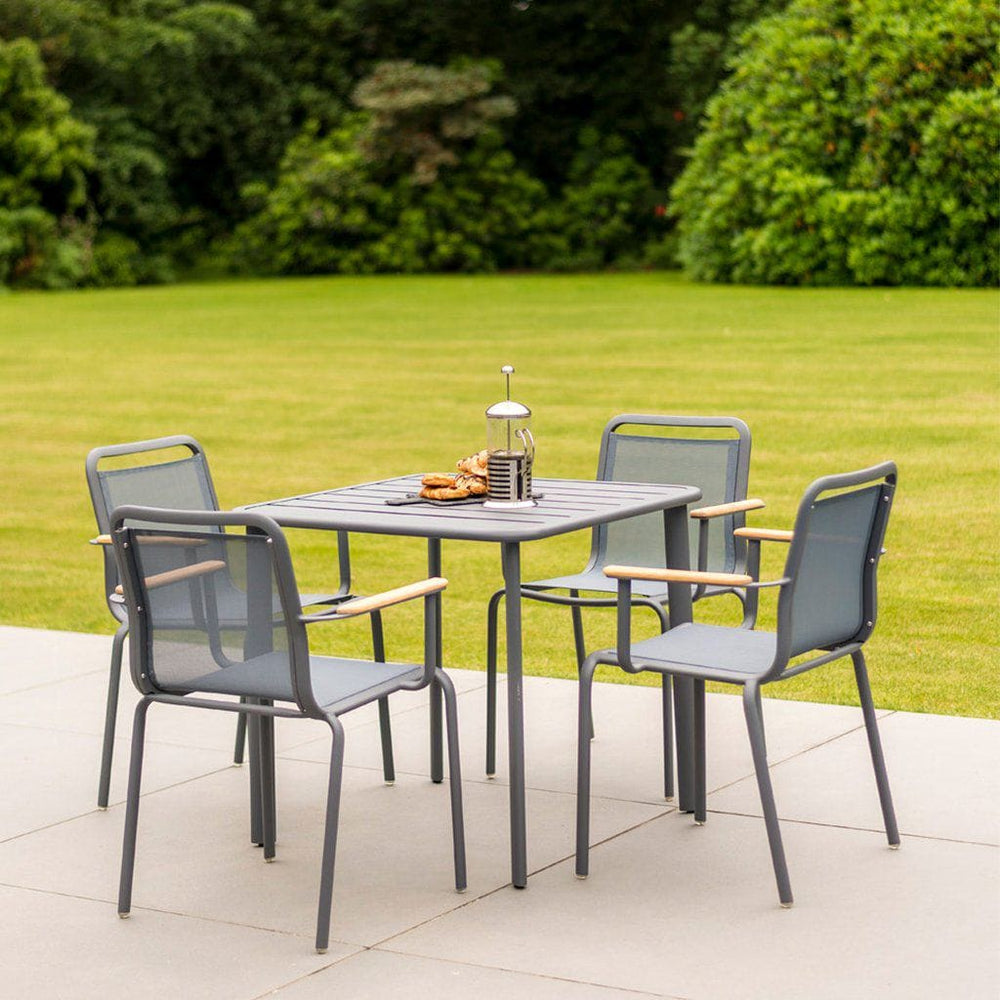 Alexander Rose Fresco Flint Dining Set - Square Slatted Table with 4 Stacking Armchairs - Grey Sling - Mid Ulster Garden Centre, Ireland