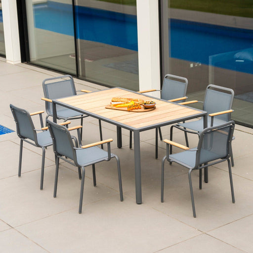 Alexander Rose Garden Furniture Alexander Rose Fresco Flint Rectangular 6 Seater Wooden Top Garden Table and Stacking Armchairs