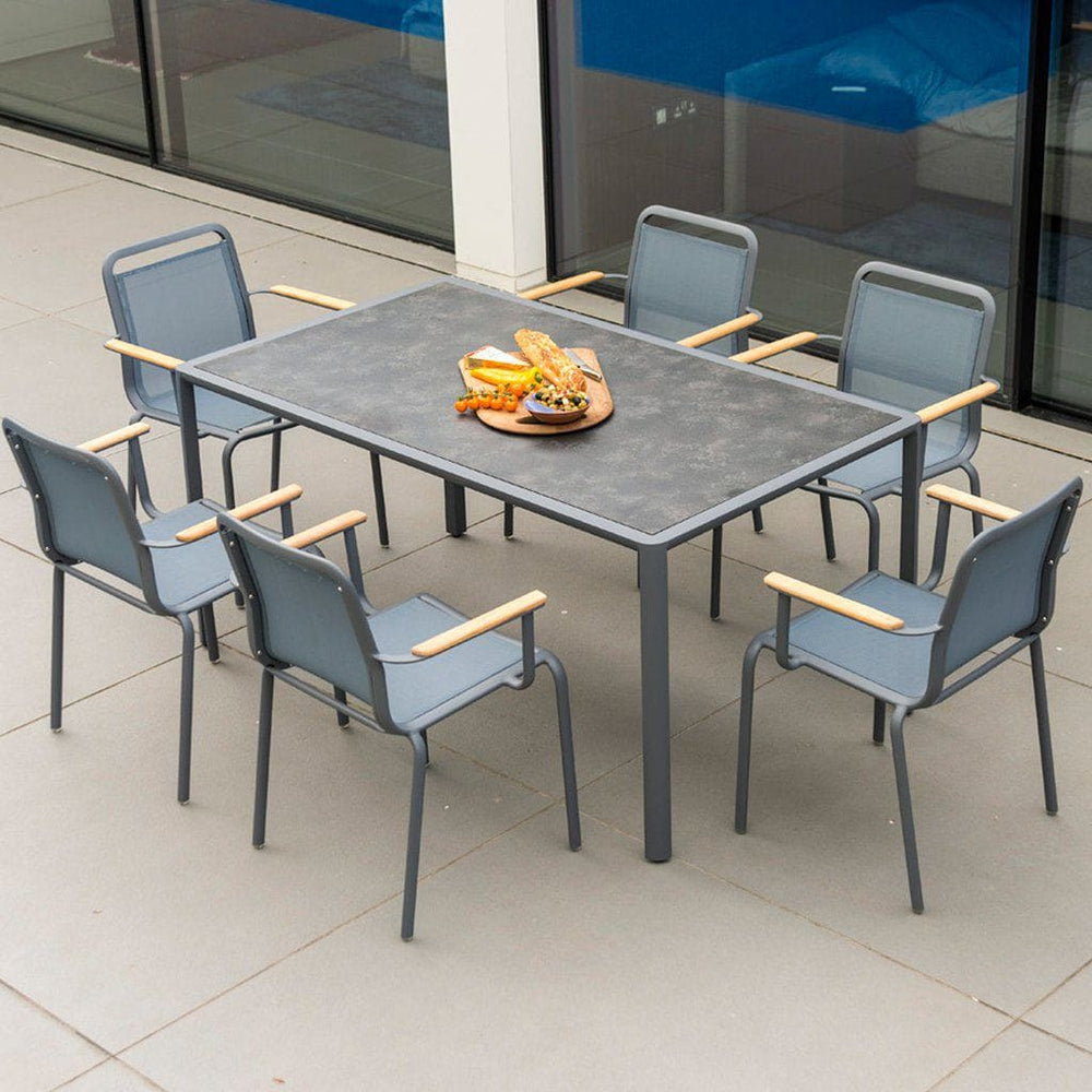 Alexander Rose Fresco Flint Dining Set - Rectangular Table with Pebble HPL Top and 6 Stacking Armchairs - Grey Sling-Mid Ulster Garden Centre, Ireland